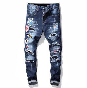 Hommes uniques Badge déchiré Blue Skinny Jeans de mode masculin Slim Fit Motocycle Motocycle Denim Pantalon Pantalon Hip Hop Hop 1019