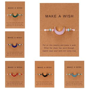 Make Wish Paper Beaded Strands Card Hand-woven Lucky Red String Bracelets Femme Multicolor Natural Stones Bracelet for Women Friendship Jewelry