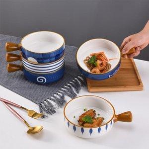 Bowls Japanese Ceramic Ramen Bowl With Handle Fruit Salad Dessert Snack Korean Kitchen Tableware Mixing Cereal Rice Sets