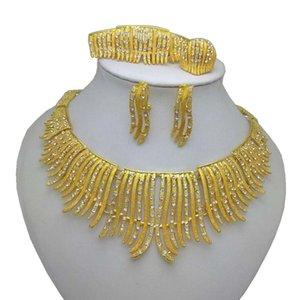 Earrings & Necklace Wholesale Bridal Jewelry Sets African Costume Zinc Alloy Set Nigerian Wedding Big Dubai Gold