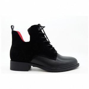 Moda Mujeres Negro Cuero Suede Rojo Forro Temperamento Cabeza Redonda Vendajes Cilindro Botas Cortas Gruesas Botas de tobillo de botines de, V9S7 #