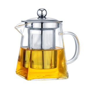 350 550 750 950ML Borosilicate Glass Teapot Heat Resistant Square Glass Teapot Tea Infuser Filter Milk Oolong Flower Tea Pot Steel Tea