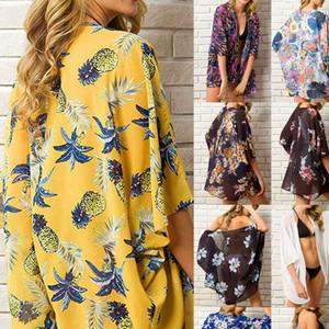 Women Chiffon Beach Print See Through Bathing Suit Cardigan Bikini Cover Up Swimwear Kimono Short Mini Dress