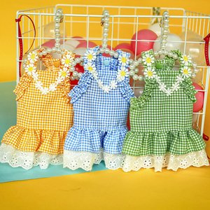 Sunflower Party Dress Plaid for Small Dog Chihuahua Yorkie Flower Sleeveless Vest Shirt Skirt Sex Girl Princess Pet Clothes 2020
