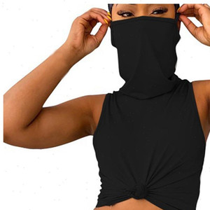 Womens Casual Solid Color Sleeveless Vest With Mask Shirt Plus Size Female Summer Cropped For 2021 New Streetwear Ckncn