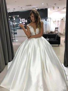 Vintage Satin Wedding Dresses 2021 robe de mariee Chapel Train V Neck Off The Shoulder Wedding Gowns Custom Made Bridal Dress Robes De Marie