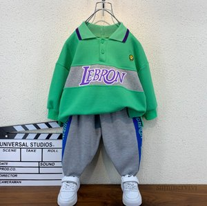 Designer boys smiling face embroidery clothing sets kids lapel long sleeve sweatshirt+letter printed casual pants 2pcs autumn children sports outfits Q2260