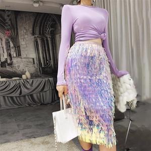 Lanmrem otoño moda nuevo elástico alta lentejuelas lentejuelas borla todo-match la falda de malla femenina YE588 210306