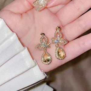 Dangle & Chandelier Luxury Temperament Bling Zircon Crystal S925 Sterling Silver Cute Bowknot Water Drop Earrings Yellow Gold Color Jewelry