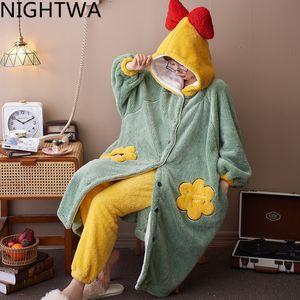 Nightwa зимняя пижама набор домашних солевостей теплые фланелевые ночные годы наборы для женщин милый мультфильм длинный сладкий сладкий фланель 2 шт. L0304