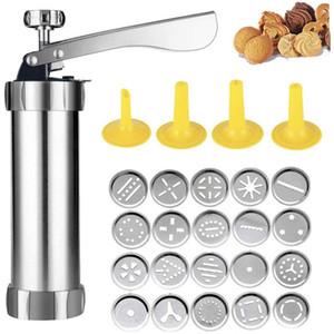 Hot biscuit imprensa conjunto de cookie máquina kit de máquina de aço inoxidável 20 discos 4 dicas de gelo spritz massa biscoitos fazendo ferramentas