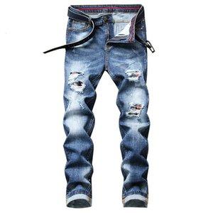 Pontalon Homme Jean Homme 새로운 파란색 찢어진 Tejanos Hombre 슬림 Pantalon Hombre 스트레이트 팬티 Vaqueros 캐주얼 청바지
