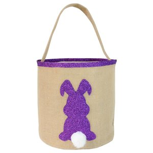Easter Bunny Bags for Egg Hunts Burlap Easter Rabbit Tail Basket Shopping Tote Handbag Kids Candy Bag Bucket Event Party Supplies
