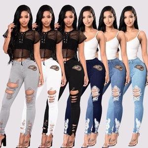 Calças clássicas das mulheres Calças de algodão Impresso Hole Calças de brim Alto Cintura Reta Calças Casuais Cor Sólida Calças Skinny Skinny Skinny Calças