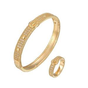 Earrings & Necklace Selling Fashion Versatile Belt Buckle Micro Set Zircon Bracelet Ring