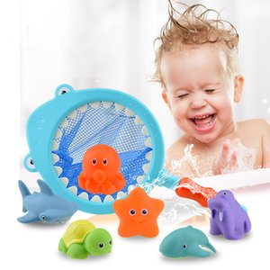 4psc set Baby Squirter Bath Toy Kids Floating Animals Water Spray with Fishing Net Swimming Water Toys for Toddlers Bathroom Sprinkling Shower