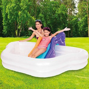 Rainbow Swimming Pool With Slide Summer Thickened Inflatable Toys Family Kids Children Play Bathtub Outdoor Indoor Water Pools X0710