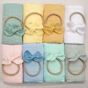 2pcs Baby Hair Accessories Elastic Headband Infant Bamboo Cotton Blanket Children Fashion Headwear Christmas Gifts