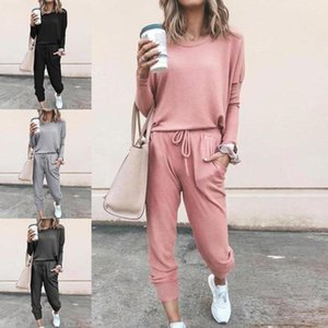 2021Autumn And Winter 2020 New Women's Loose Solid Color Long Sleeve Casual Suit Two Piece Pants Free Shipping