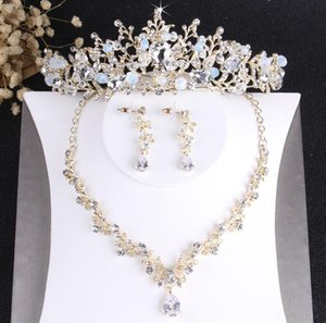 Earrings & Necklace Baroque Noble Vintage Gold Crystal Bridal Jewelry Sets Fashion Wedding Tiaras For Bride Hair Ornaments