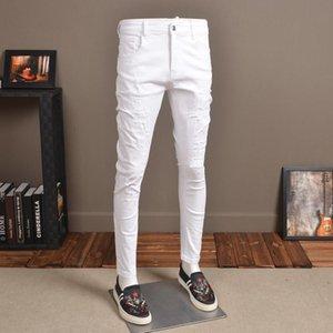 Мужские джинсы моды модные упругие белые джинсы брюки для ковбоев
