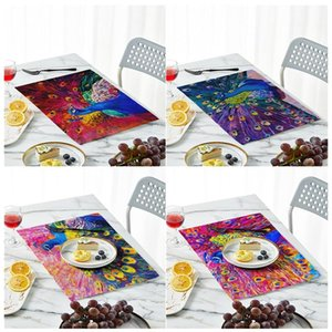 Table Napkin Peacock Pattern Napkins 42x32cm Cloth Mat Dinning Room Fabric For Kitchen Wedding Decorative Serving