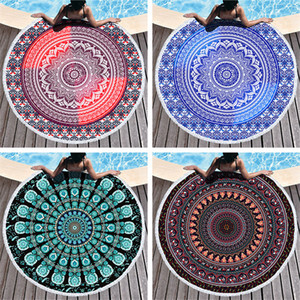 Mandala Beach Towel 150cm Round Beach Blanket Towel Fabric Printed Tablecloth Bohemian Tapestry Yoga Mat Covers GWD4941
