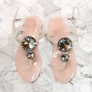 Transparent Woman Sandals Summer Big Diamond Zapatos Lager Tamaño 41 42 Mujer Sandalia Sandalia CRISTAL DE PLAYA Zapatillas de jalea 210302