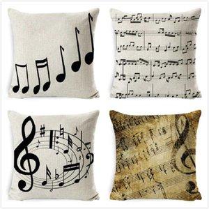 Cushion Decorative Pillow Music Series Cushion Cover Note Printed High Qulity Cotton Linen Decorative Case Car Seat 45x45cm Pillowcase