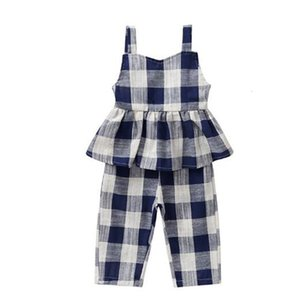 2021 New Arrival Fashion Summer Baby Girls Plaid Overall Toddler Girl Suit Shirt+pants Children Clothing Set Hot Sale Lxh1