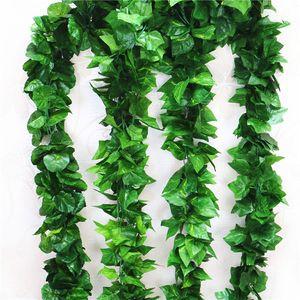 90 يترك 2.3 متر الاصطناعي الأخضر العنب أوراق أخرى بوسطن اللبلاب فاينز زينت وهمية زهرة قصب بالجملة