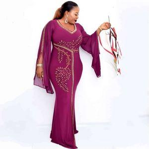 Maxi Длинное платье для женщин Aficaine Hatrombe 2021 африканская модная ткань Дашики, одетая как одежда вечеринки Африка QZE3
