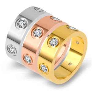 Fashion Stainless Steel Rose Gold Color Love Rings for Women Men Couple CZ Crystal Finger Rings Engagement Jewelry Wedding Band Rings Gift