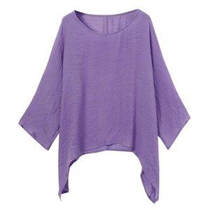 Women's T-Shirt Irregular Cropping Harajuku Medium-Length Sleeve Tee Tops Oversized 5XL Loose Bat Shirt Female Clothing Y2king