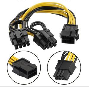 6pin için Çift 8Pin Erkek PCI Express 2 x PCIE 8 (6 + 2) Pin Kadın Grafik Video Kartı PCI-E Splitter Hub Güç Kablosu