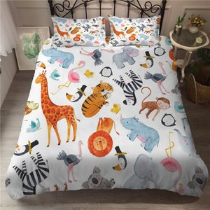 Bed Linen Double Duvet Cover Forset Animal Printed Queen Bedding Cartoon Egyptian Cotton Bed Clothes for Kids C0225