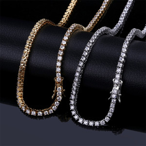 3mm Iced Out Bling Zircon 1 Row Tennis Chain Necklace Men Hip hop Jewelry Gold Silver Rose Gold Charms 20 T2