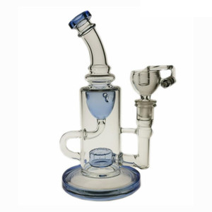 SAML BONG 9 بوصة Tall Klein Dab Rig Glass Klein Recycler Recycler تدخين أنابيب المياه واضحة الأزرق المفاصل حجم 14.4 ملليمتر