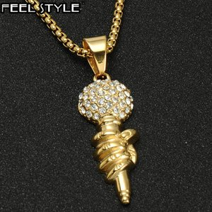 Mens Hip Hop Jewelry Stainless Steel Bling Iced Out Titanium Music Microphone Mike Pendant & Necklace