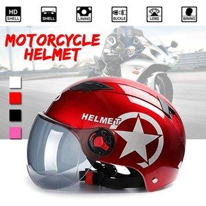 Motorcycle Half Face Helmet 3 4 Open Face Helmet Unisex Bike Motorcycle Scooter Head Protector Sunscreen Lens Anti UV Helmets