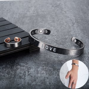 Vinterly love adjustable cuff bracelet men's magnetic energy COPPER black Charm women's gift