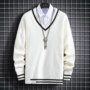 Men Fall Winter New Cotton Sweater Fashion Thick V-Neck Pullover Keep Warm Pull Homme Male Christmas Sweaters Jumper