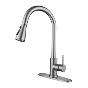 High Arc Brushed Pull Out Spout Kitchen Faucet,Stainless Steel Kitchen Sink Mixer Tap with Pull Down Sprayer JK2103XB2.5