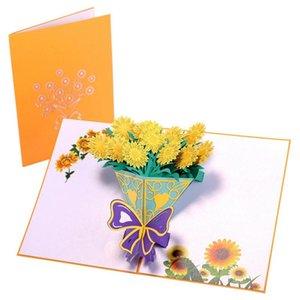 Cartão de flor pop-up Cartão 3D para aniversário mães Dia dos pais Rosa Cravo Cravo Cartões BWB5198