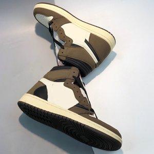 2021 Высококачественный Jumpman Женская Баскетбольная Обувь Мужская 1 S Travis SoCtt Mocha Спорт на открытом воздухе