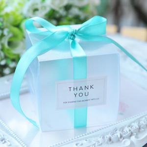 5x5x5cm PVC Clear Candy Boxes Décorations de mariage Fournitures Fournitures Cadeau Boîte de cadeau Bébé Favoris Boîte de bonbons avec ruban