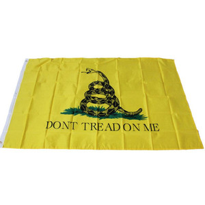 "3x5ft Tea Party Culpeper ""DONT TREAD ON ME"" Banner 90*150cm Yellow Snake Flag Gadsden State Snake Flag Home Garden Decoration"