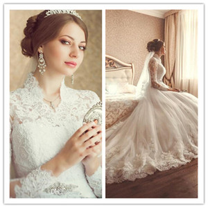 Royal Long Sleeves Lace Appliqued Crystal High Neck See Through Princess Wedding Dress 2016 Plus Size Wedding Dresses Bridal Gown