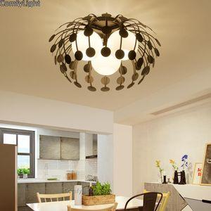 Nordic Desgin Plafoniera per cucina Kid Room Soggiorno Industriali Hanglamp Led E27 Lanterne di bolla Plaghetto in vetro nero