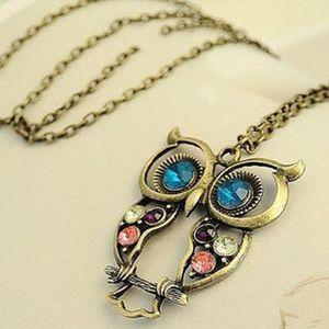 Eule Halsketten Retro Diamante Bronze Antike Silberperlen lang für Frauen
